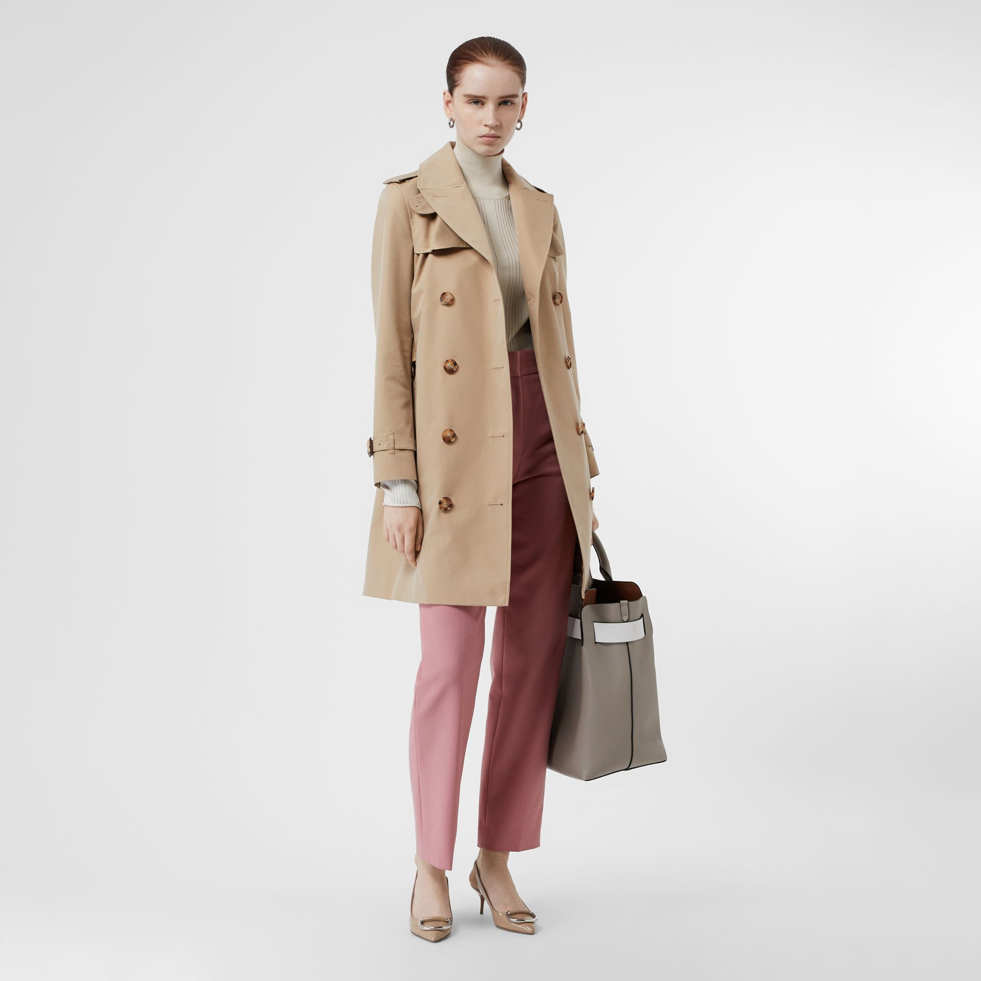 Cotton Gabardine Trench Coat in Honey - Women | Burberry Singapore - gallery image 0