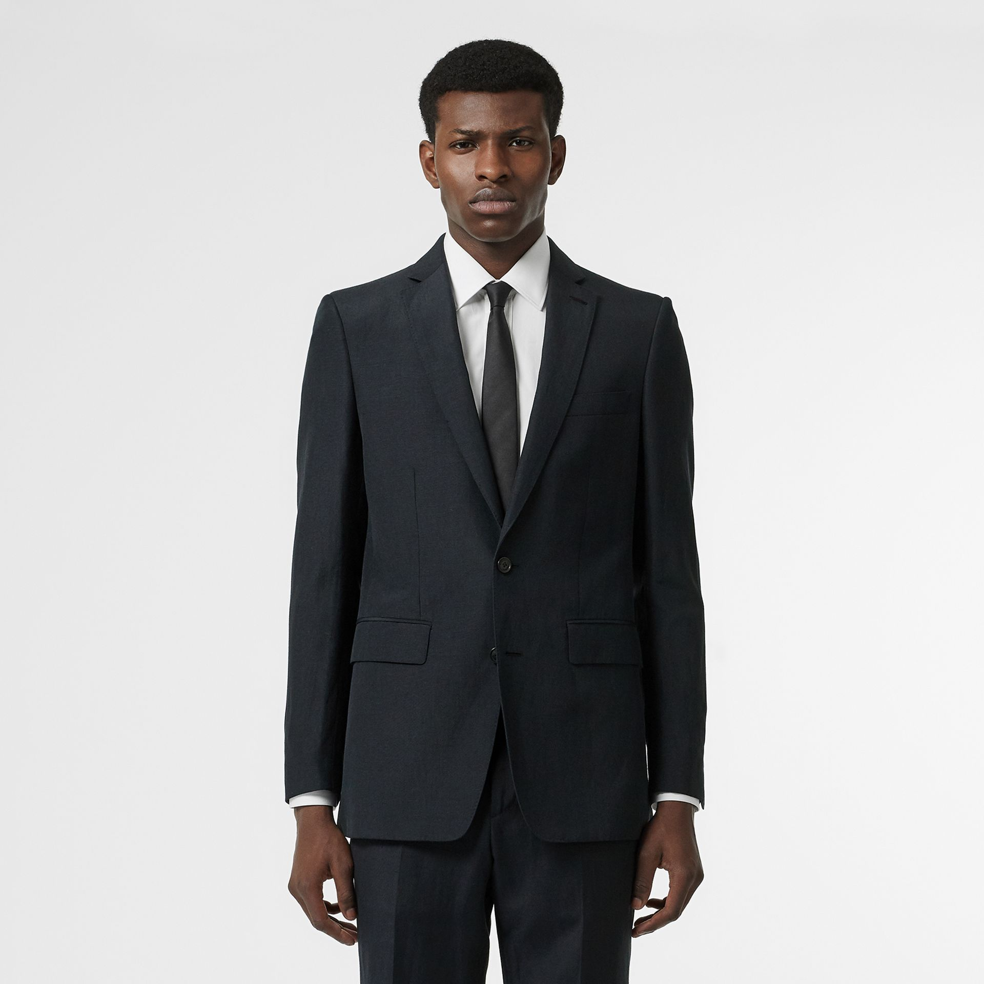 Classic Fit Mohair Linen Silk Tailored Jacket in Navy - Men | Burberry - gallery image 6