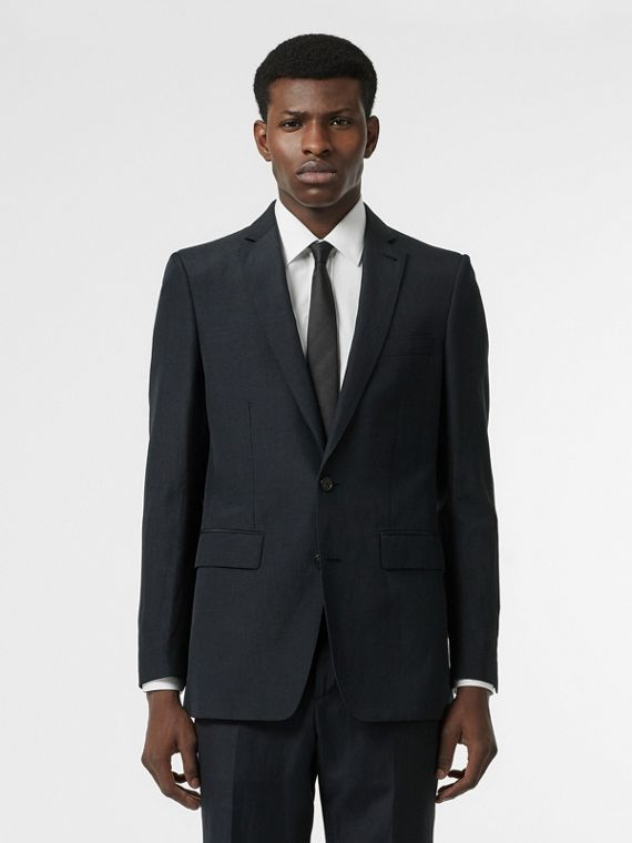 Classic Fit Mohair Linen Silk Tailored Jacket in Navy