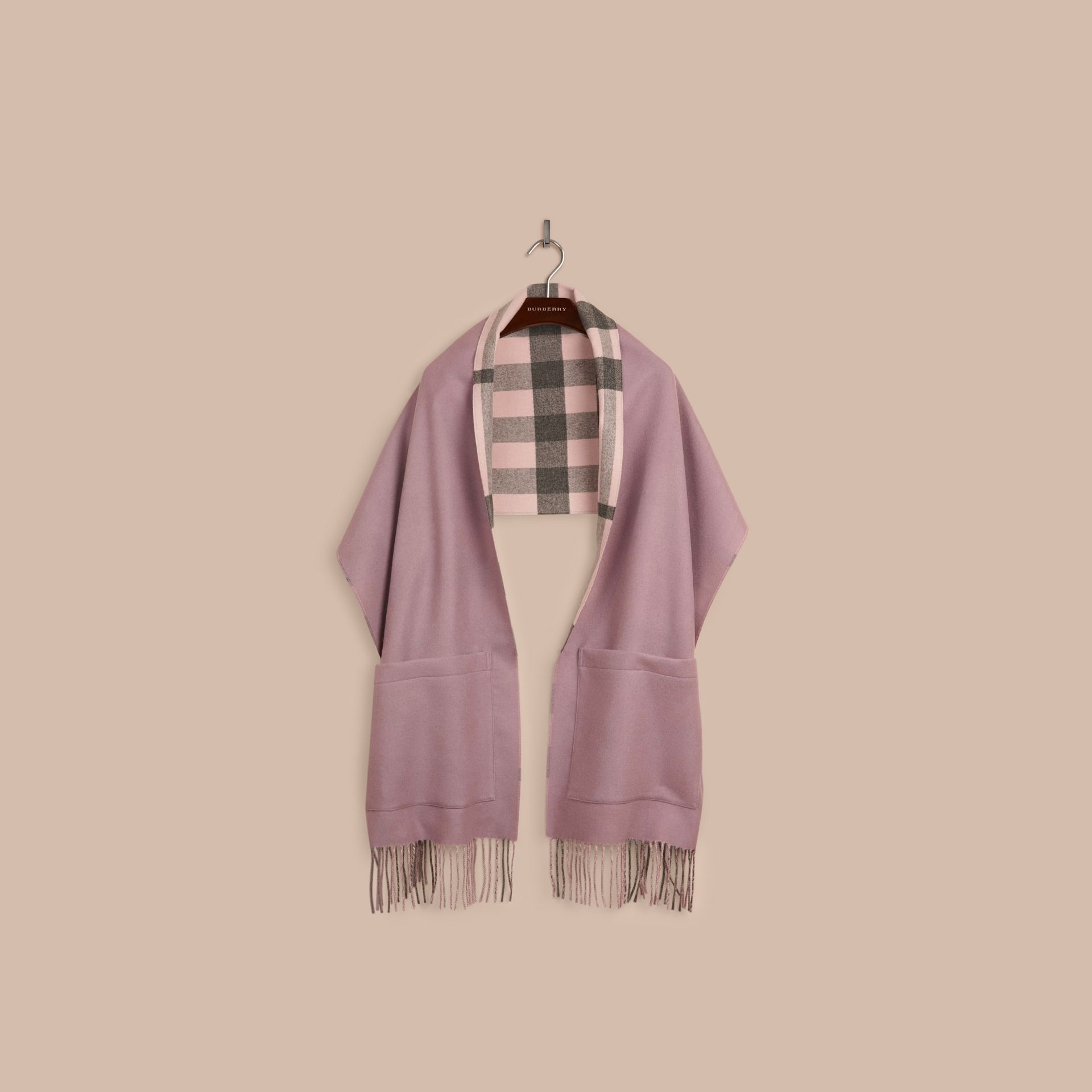 Thistle pink Check Lined Wool Cashmere Stole Thistle Pink - gallery image 4
