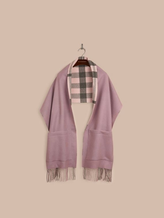 Thistle pink Check Lined Wool Cashmere Stole Thistle Pink - cell image 3