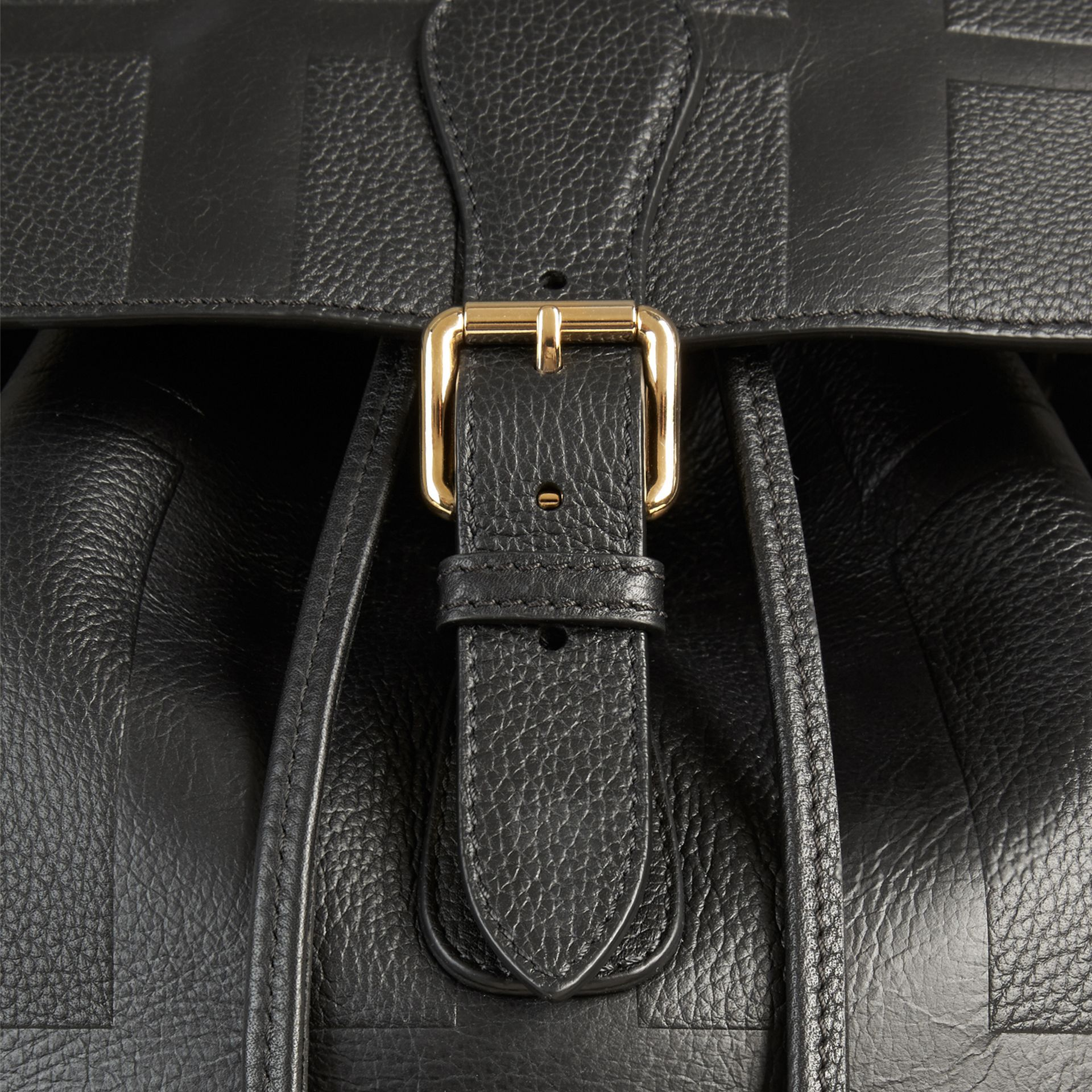 Black Check Embossed Leather Backpack - gallery image 2