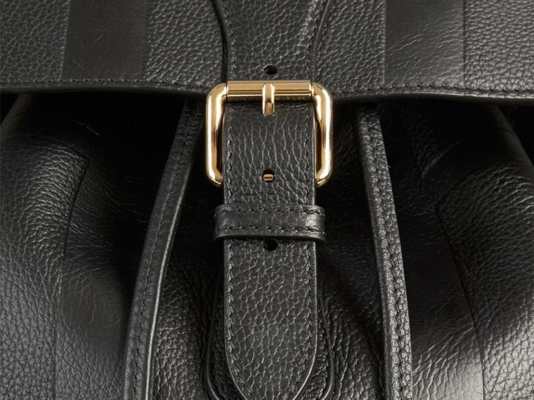 Black Check Embossed Leather Backpack - cell image 1
