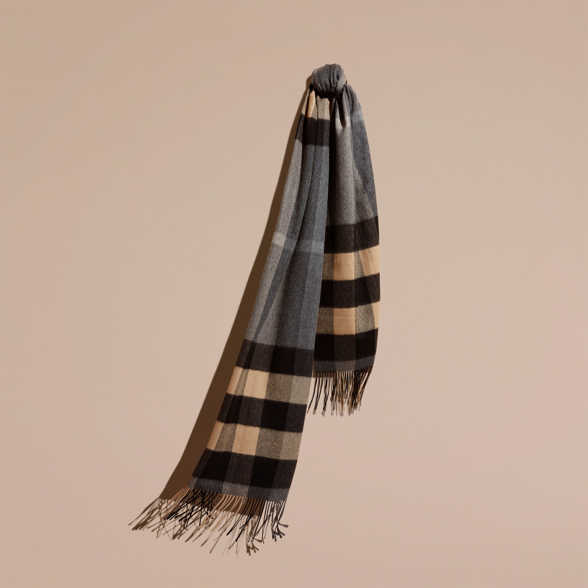 Mid grey/camel Oversize Check Cashmere Scarf Mid Grey/camel - gallery image 1