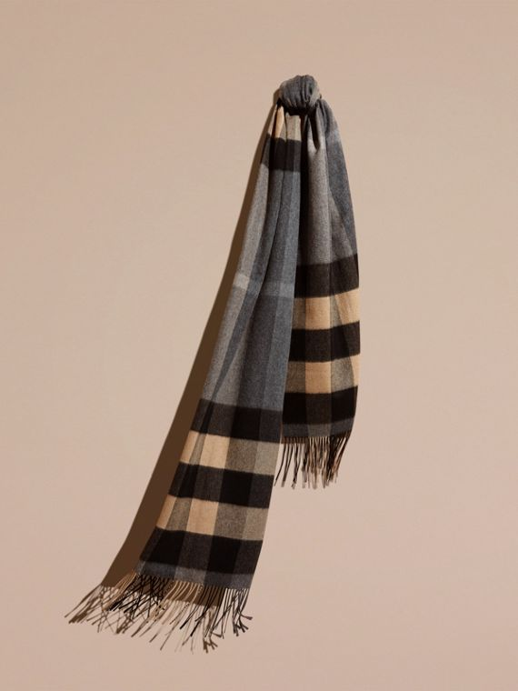 Oversize Check Cashmere Scarf Mid Grey/camel