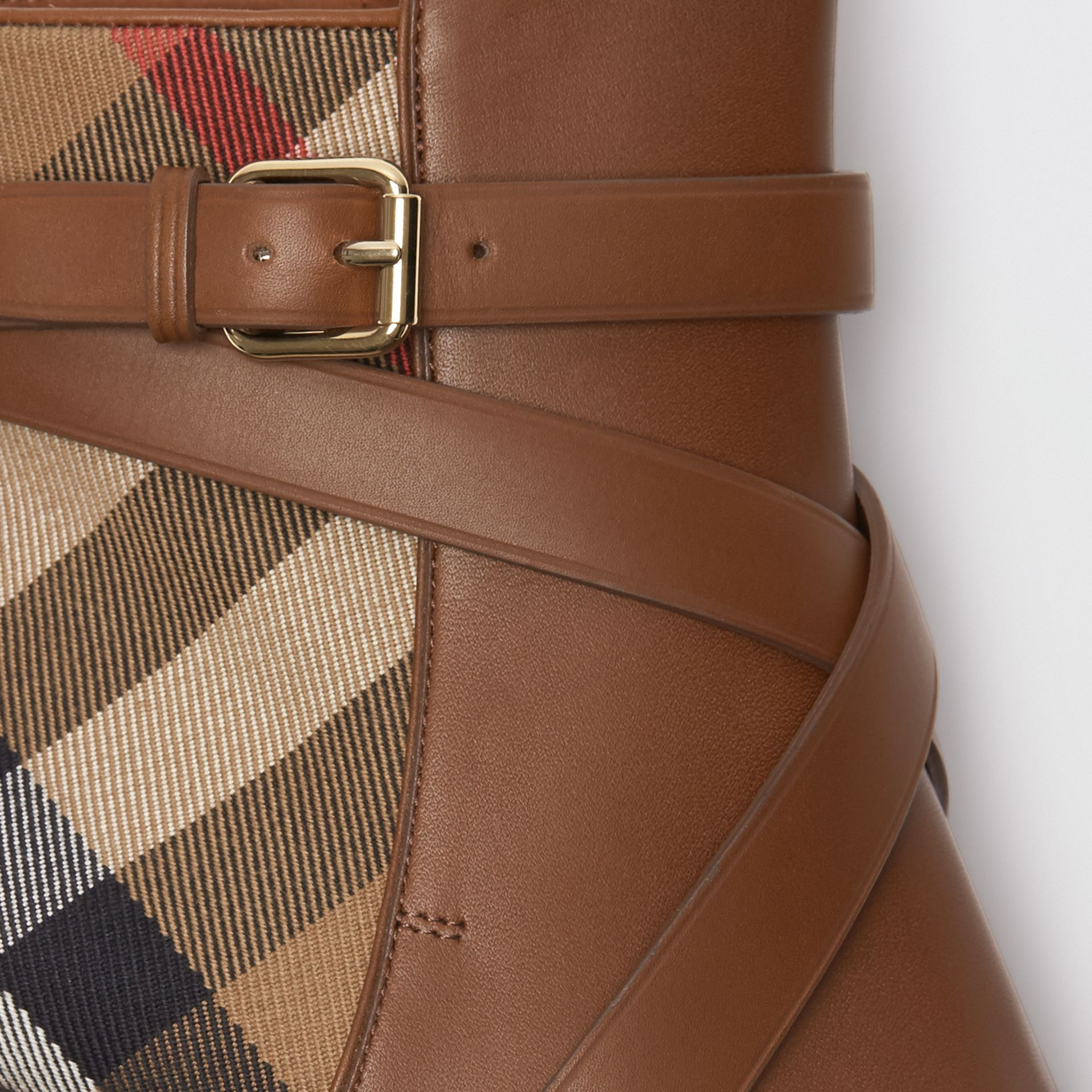 House Check and Leather Ankle Boots in Bright Camel - Women | Burberry United States - gallery image 1