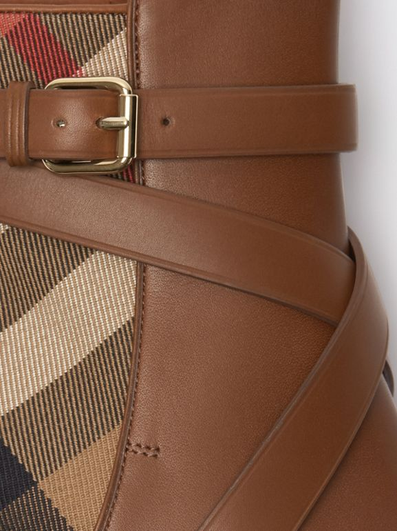 House Check and Leather Ankle Boots in Bright Camel - Women | Burberry Hong Kong - cell image 1