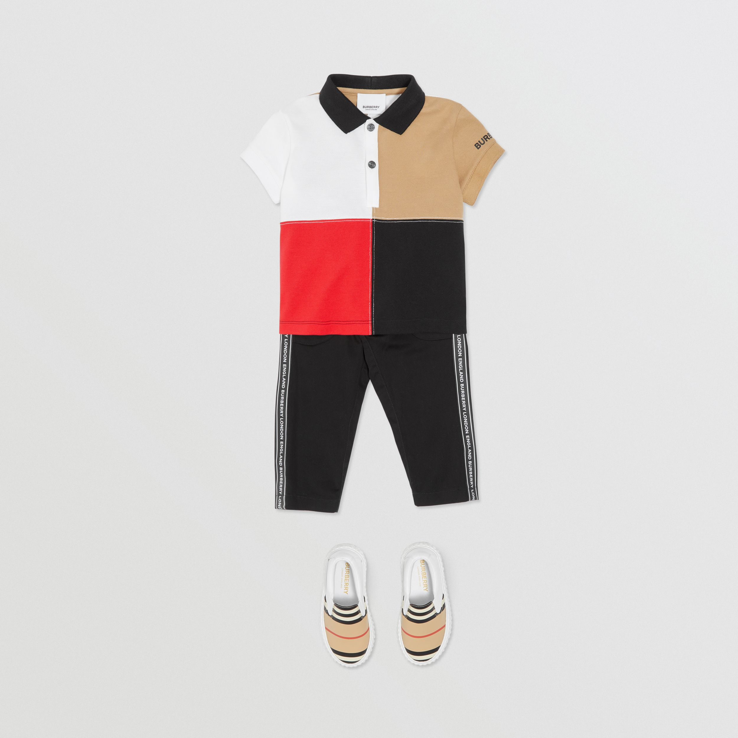 Logo Tape Cotton Chinos in Black - Children | Burberry - 3