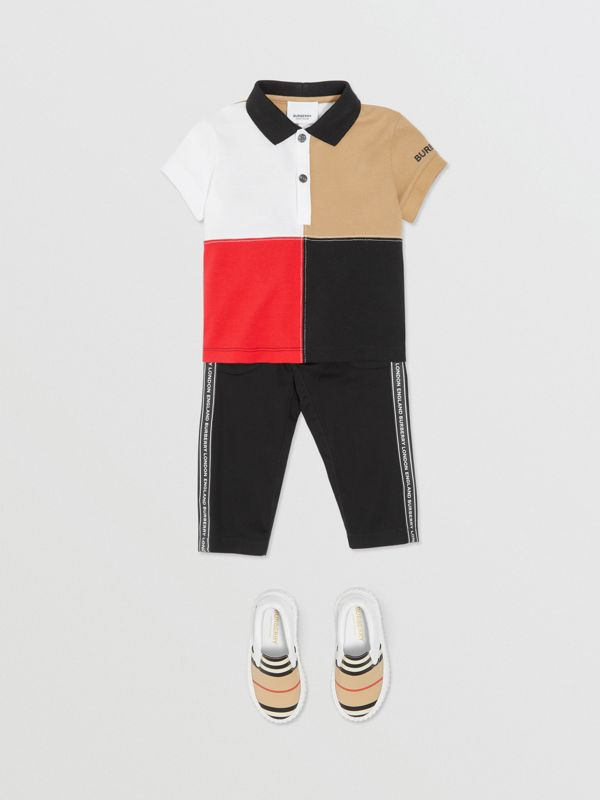 Logo Tape Cotton Chinos in Black - Children | Burberry - cell image 2