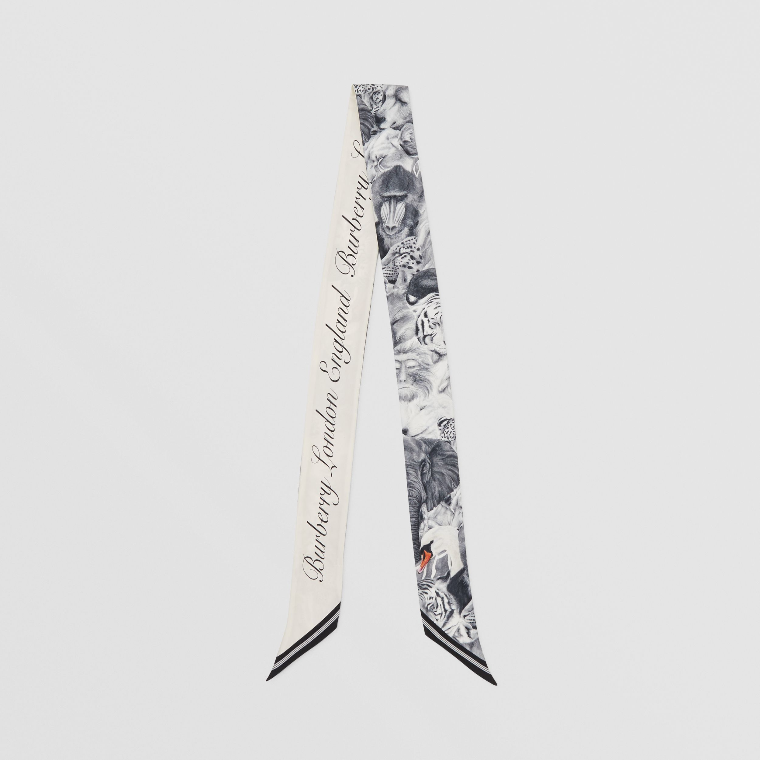 Animalia and Logo Print Silk Skinny Scarf in Vanilla | Burberry - 1