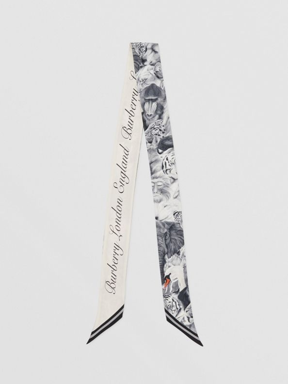 Animalia and Logo Print Silk Skinny Scarf in Vanilla