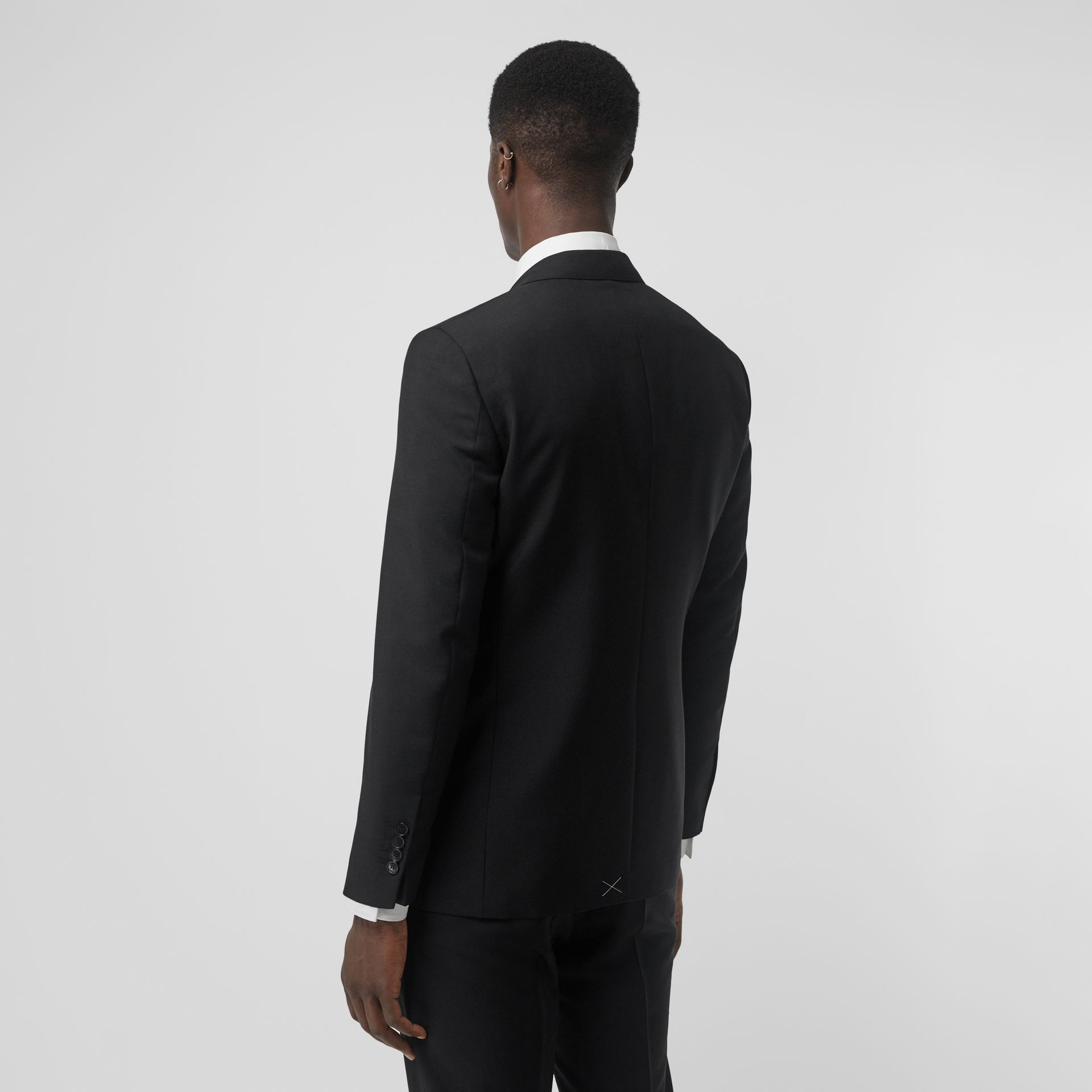 Slim Fit Wool Mohair Tailored Jacket in Black - Men | Burberry United Kingdom - gallery image 2