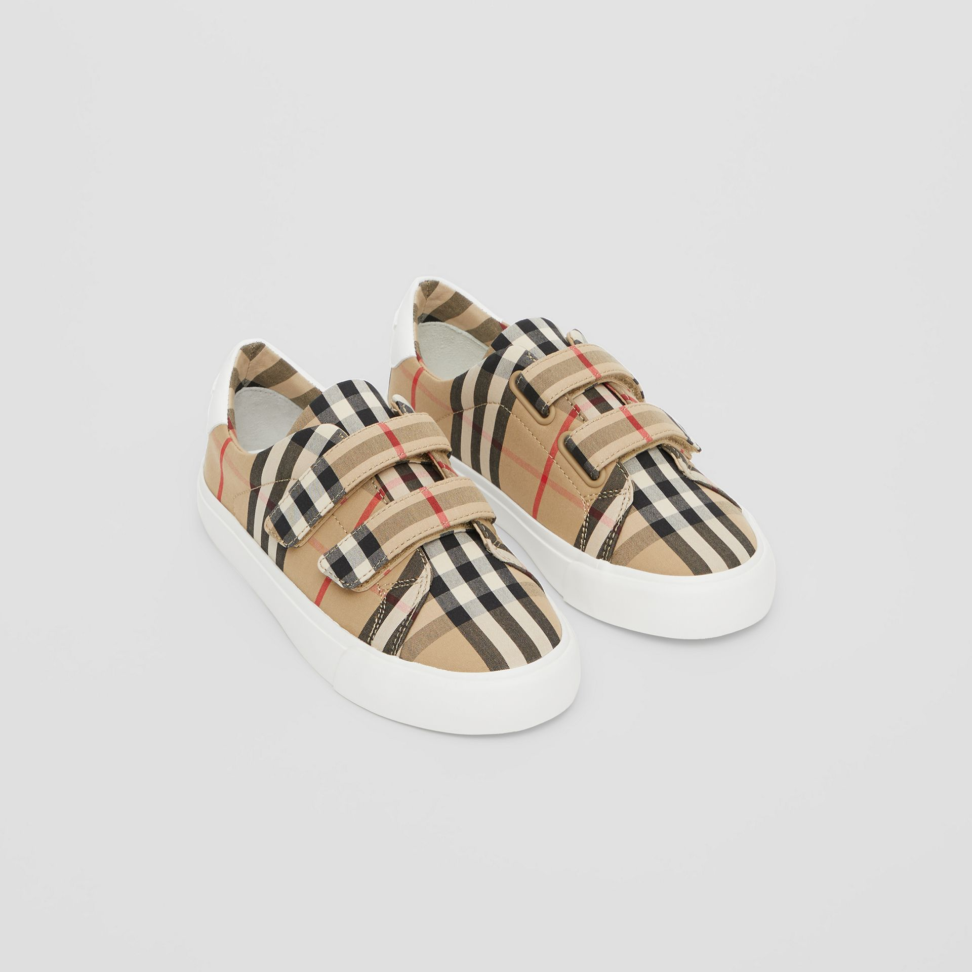 Vintage Check Cotton Sneakers in Archive Beige - Children | Burberry Singapore - gallery image 0