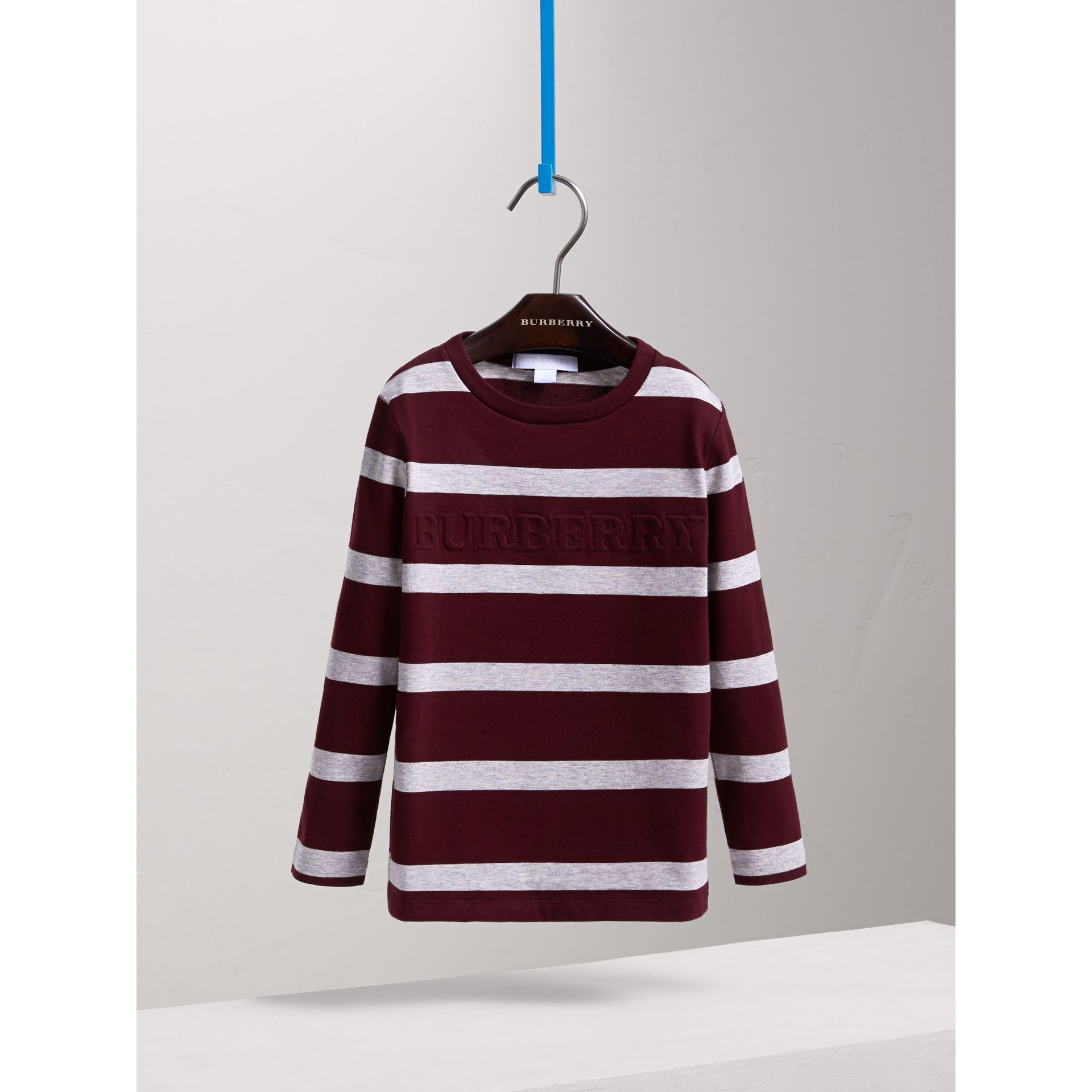 Long-sleeve Striped Cotton T-shirt in Burgundy/grey Melange - Boy | Burberry - gallery image 3
