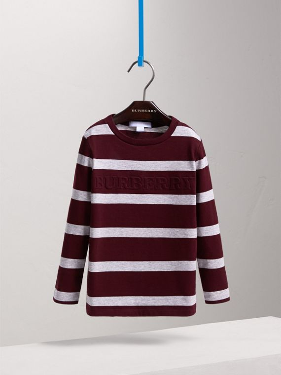 Long-sleeve Striped Cotton T-shirt in Burgundy/grey Melange - Boy | Burberry - cell image 2