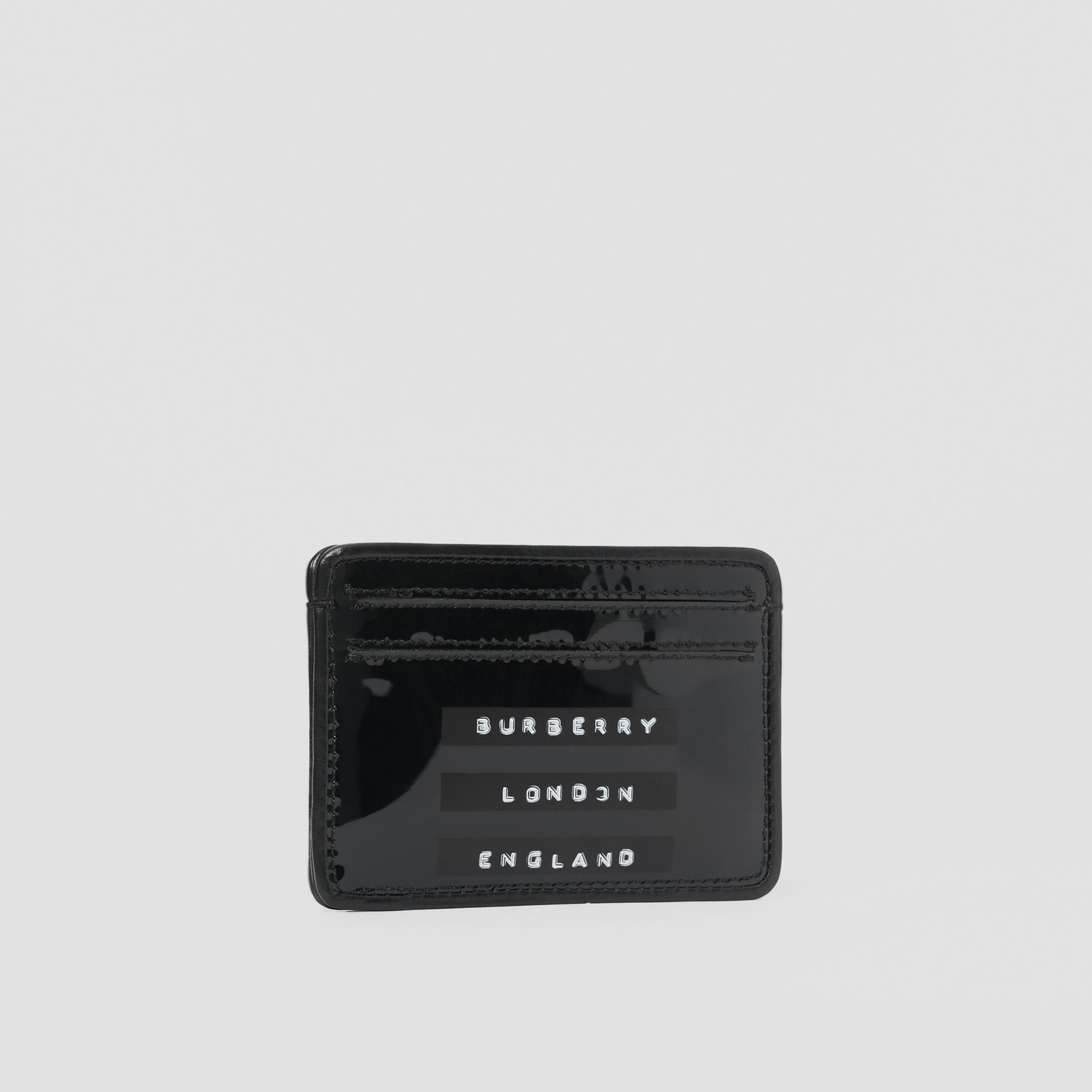 Tape Print Laminated Card Case in Black - Women | Burberry - gallery image 3