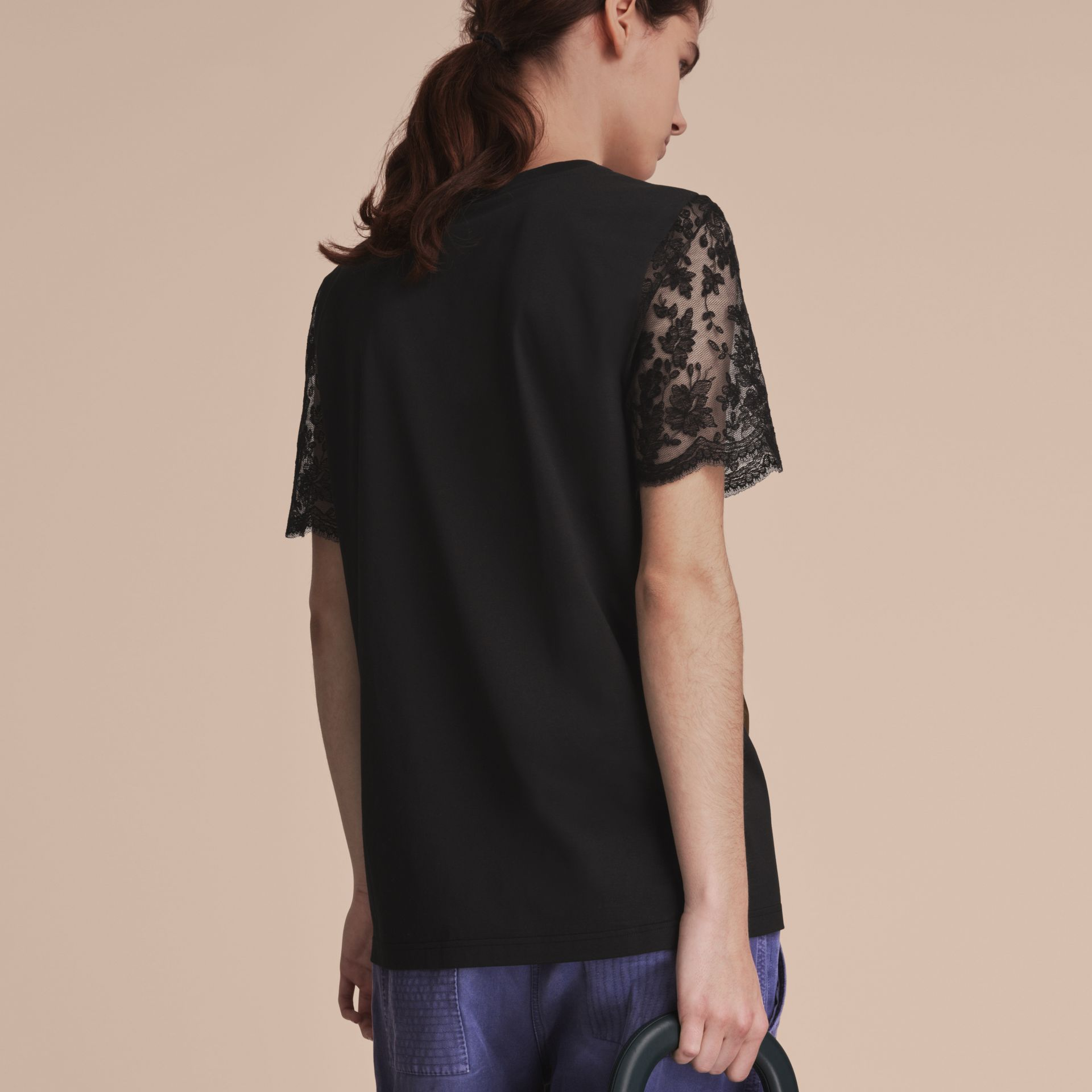 Cotton T-Shirt with Embroidered Tulle Sleeves - gallery image 3