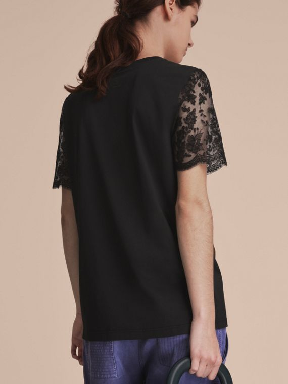 Cotton T-Shirt with Embroidered Tulle Sleeves - cell image 2