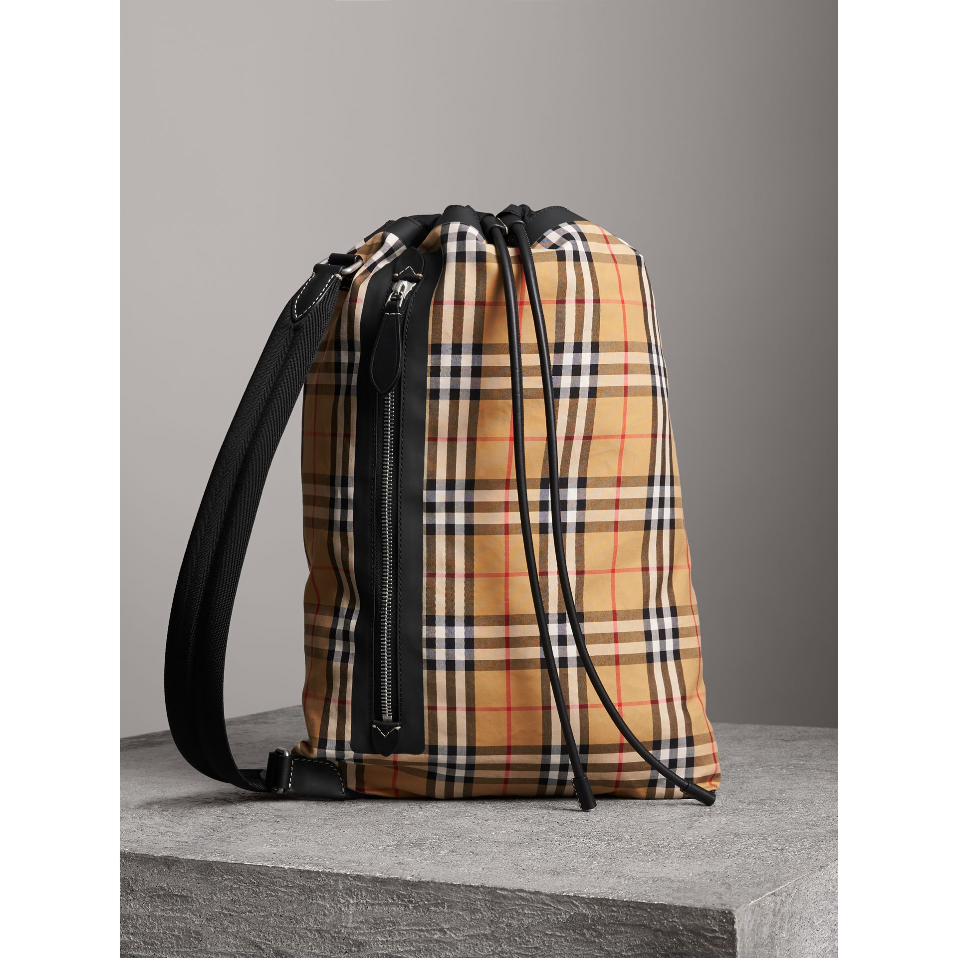 Medium Vintage Check Cotton Duffle Bag in Antique Yellow | Burberry Australia - gallery image 6