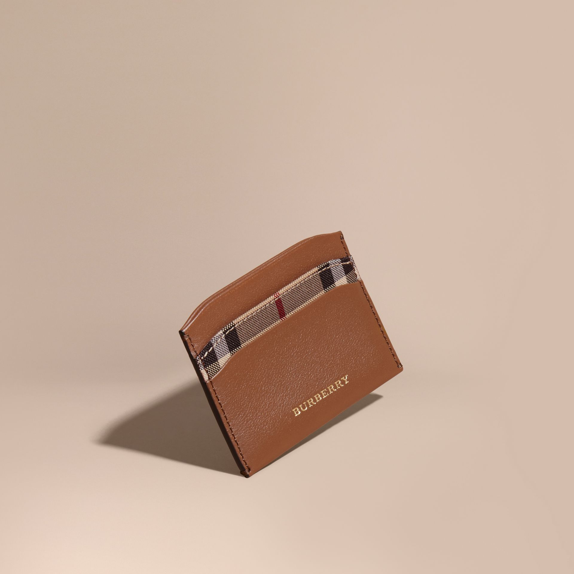 Check and Leather Card Case Tan - gallery image 1