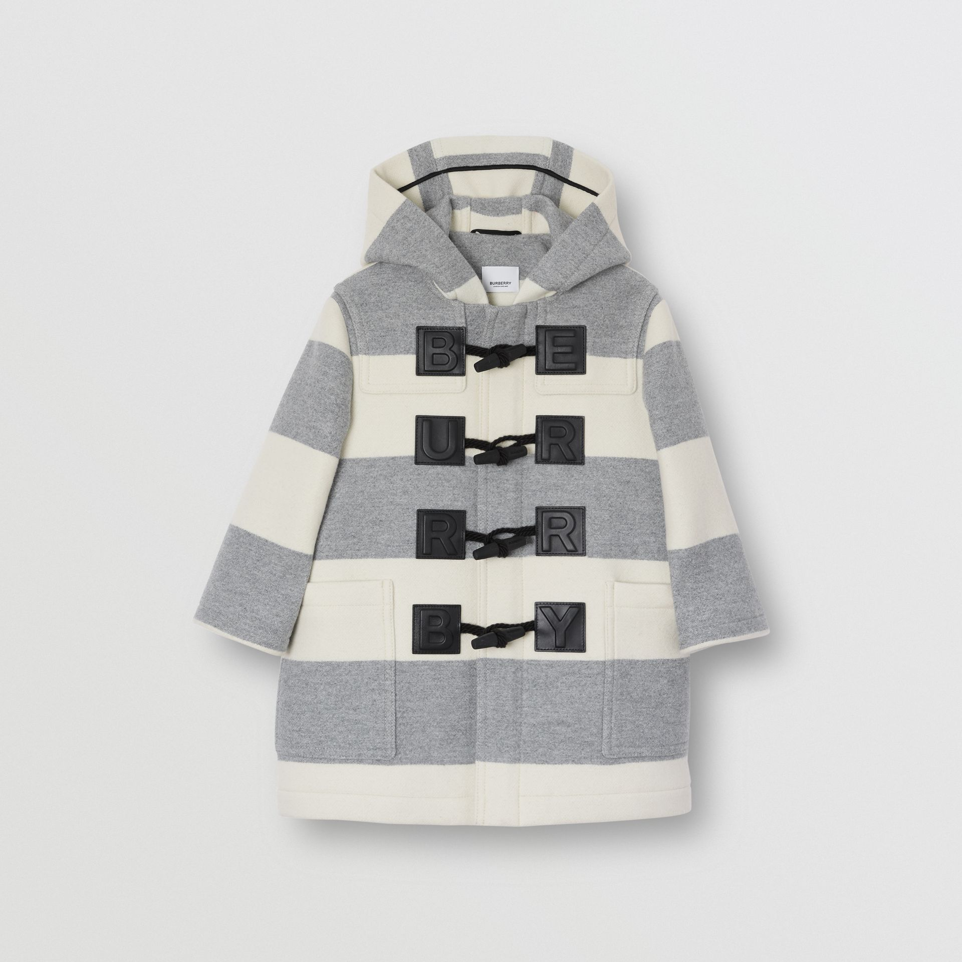 Logo Detail Striped Wool Cashmere Blend Duffle Coat in Grey | Burberry Australia - gallery image 0