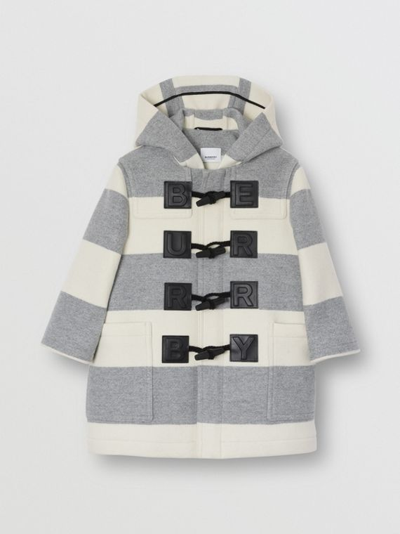 Logo Detail Striped Wool Cashmere Blend Duffle Coat in Grey