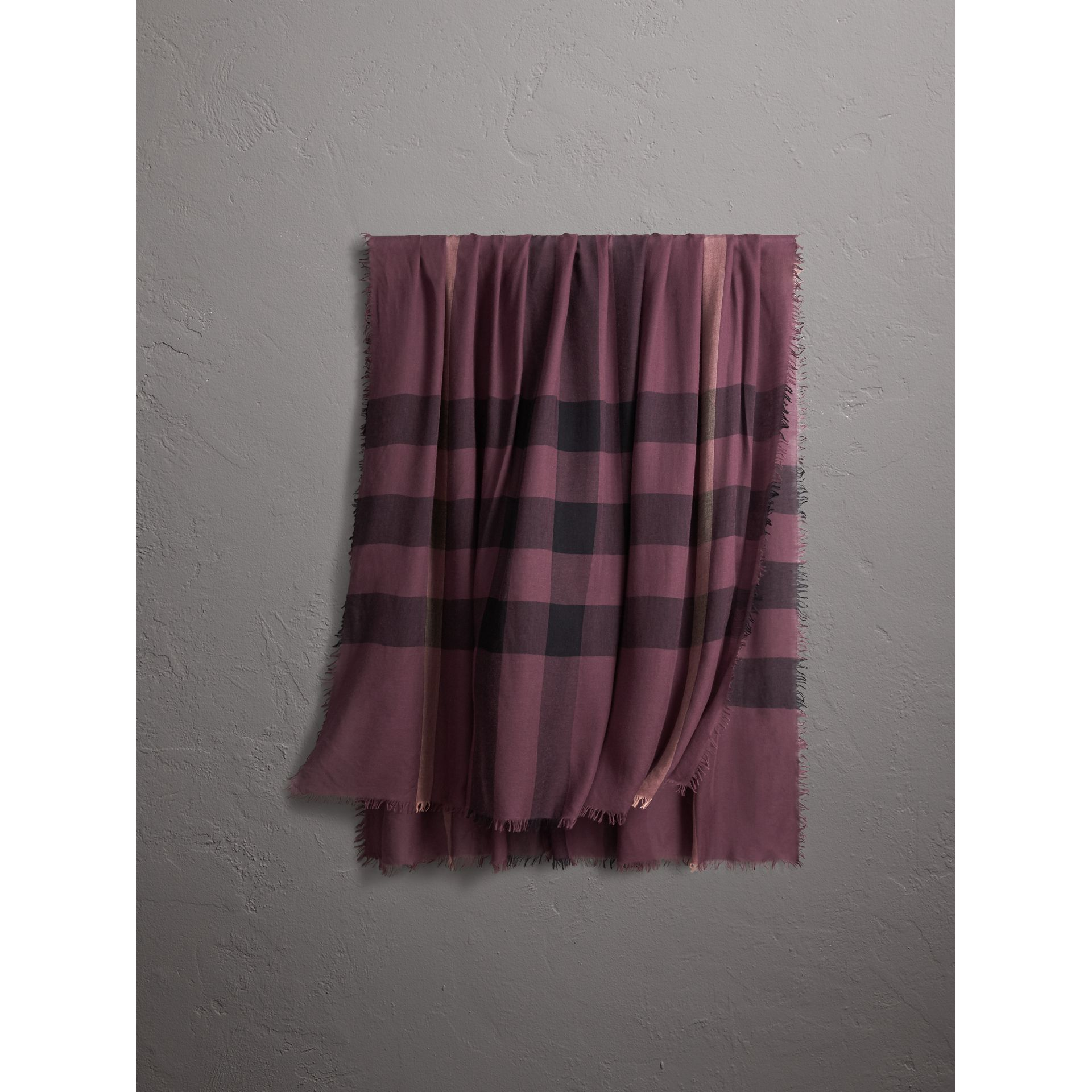 Check Modal Wool Scarf in Mauve Pink - Women | Burberry - gallery image 0