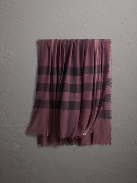 Check Modal Wool Scarf in Mauve Pink