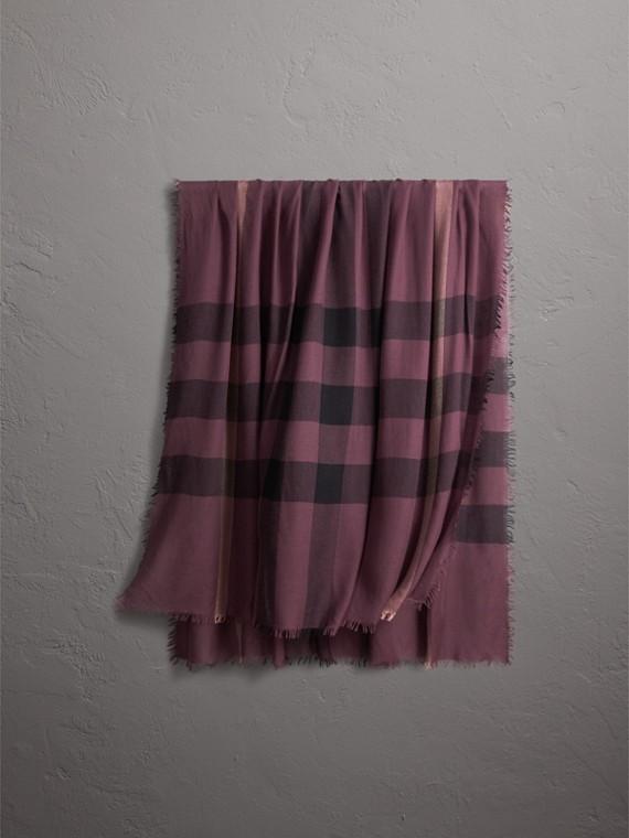 Écharpe en laine et modal à motif check (Rose Mauve)