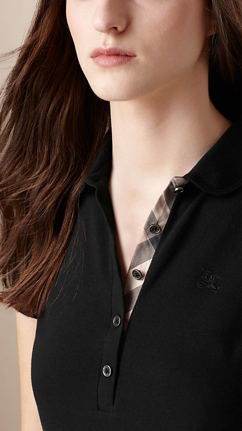 Black Check Placket Polo Shirt - Image 3