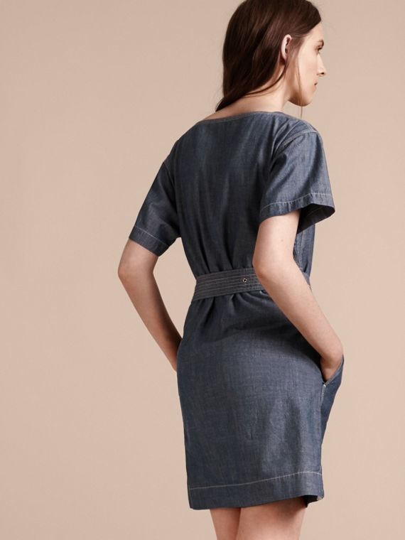 Light indigo blue Short-sleeved Chambray Cotton Dress with Belt - cell image 2