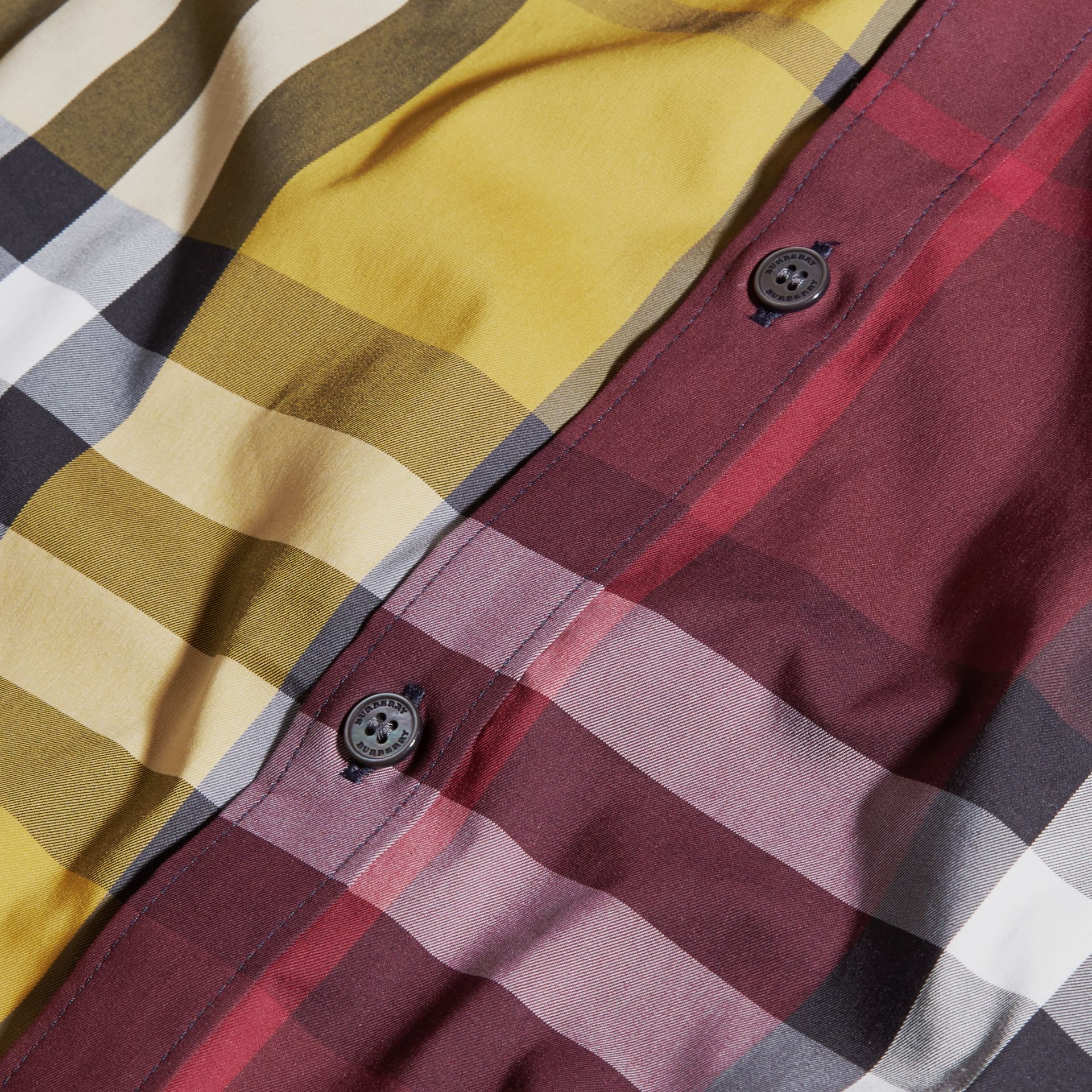 Yellow Colour Block Check Cotton Blend Shirt Yellow - gallery image 2