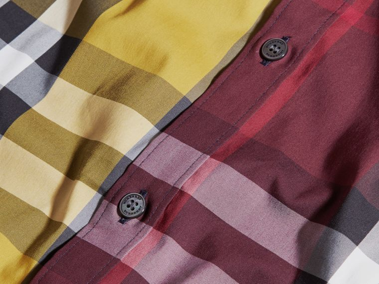 Yellow Colour Block Check Cotton Blend Shirt Yellow - cell image 1
