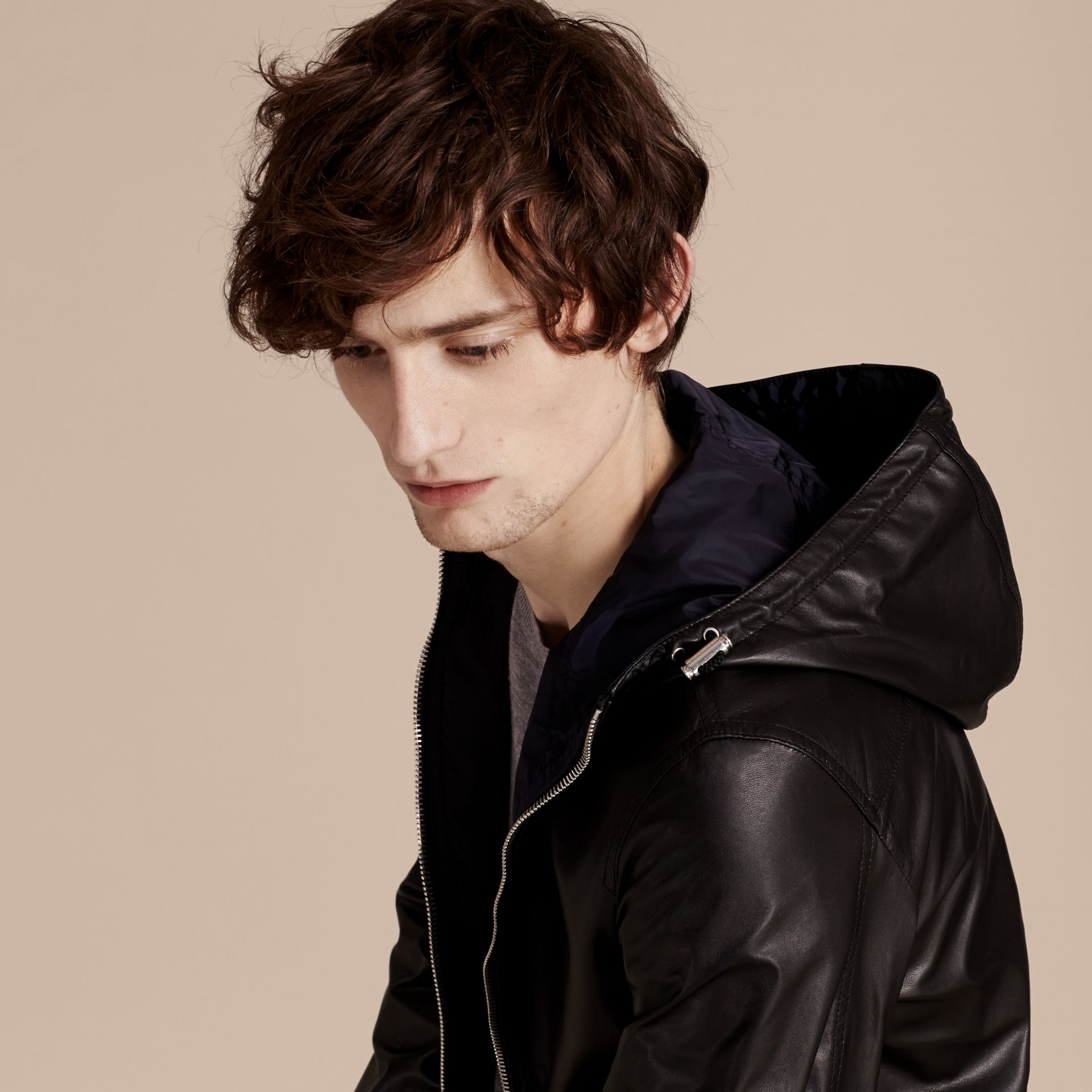 Black Reversible Lambskin Jacket with Hood - gallery image 6