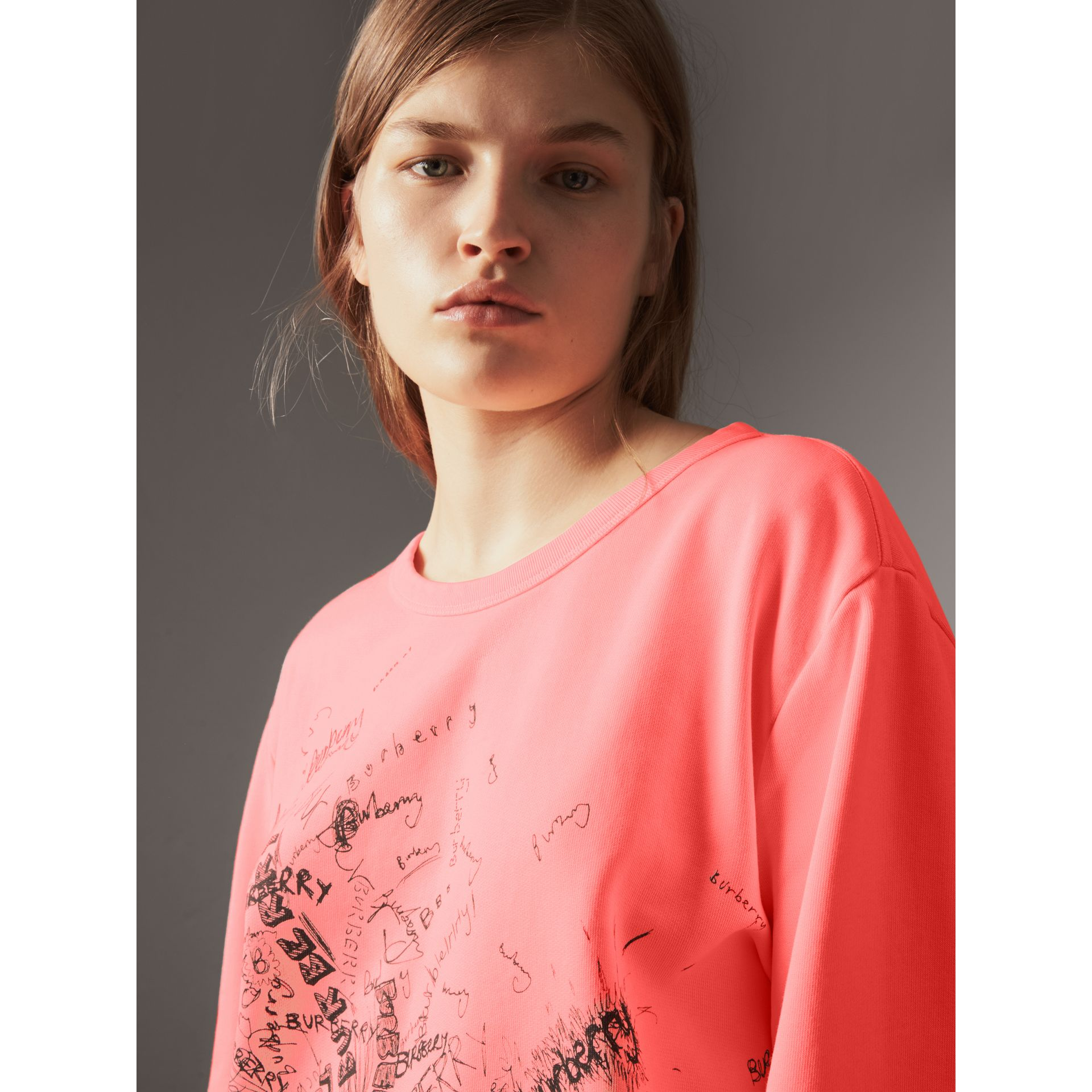 Doodle Print Cotton Sweatshirt in Bright Clementine - Women | Burberry - gallery image 1