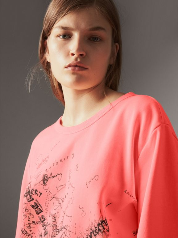 Doodle Print Cotton Sweatshirt in Bright Clementine - Women | Burberry - cell image 1