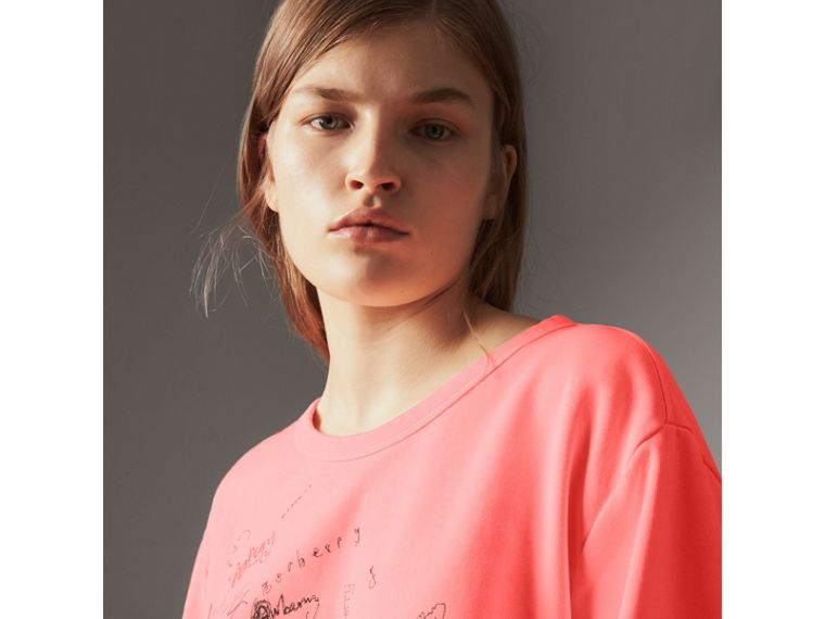 Doodle Print Cotton Sweatshirt in Bright Clementine - Women | Burberry Canada - cell image 1