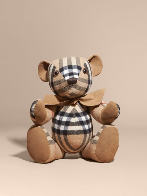 Large Thomas Bear in Check Cashmere in Camel | Burberry Australia - cell image 3