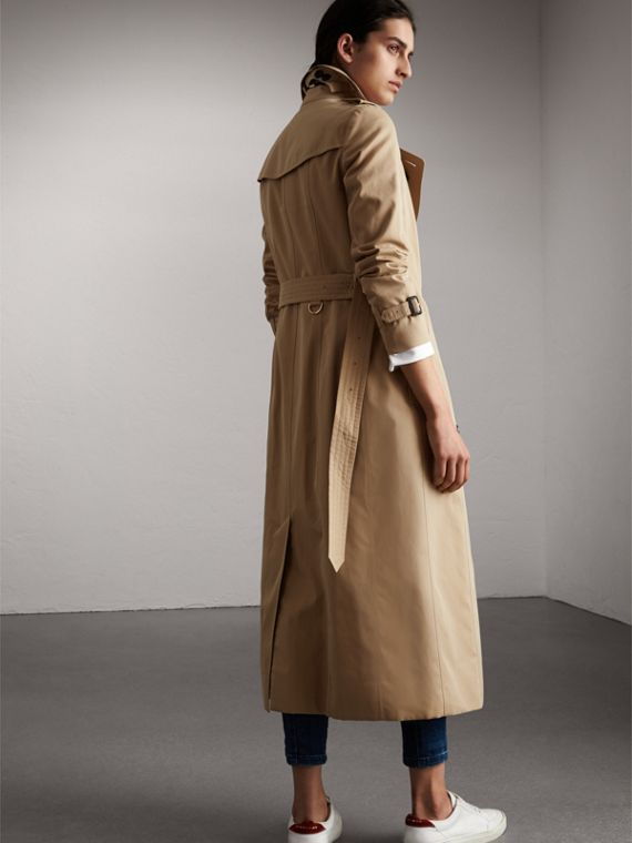 Long Cotton Gabardine Trench Coat in Honey - Women | Burberry - cell image 2
