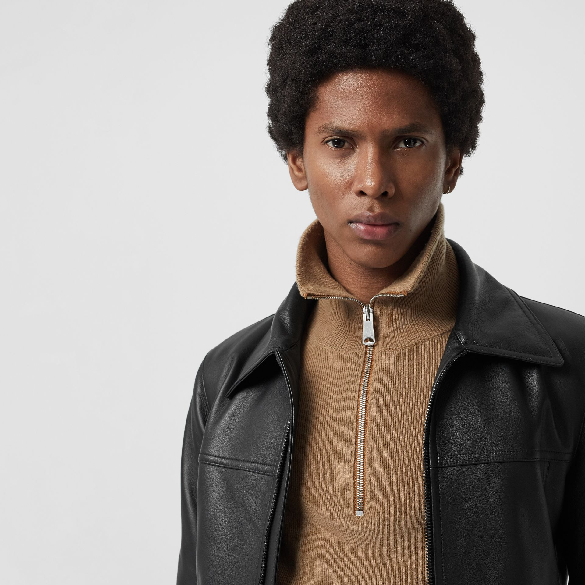 Detachable Collar Lambskin Bomber Jacket in Black - Men | Burberry - gallery image 1
