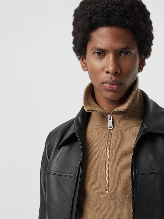 Detachable Collar Lambskin Bomber Jacket in Black - Men | Burberry Singapore - cell image 1