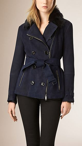 Zip Detail Shearling Trench Jacket