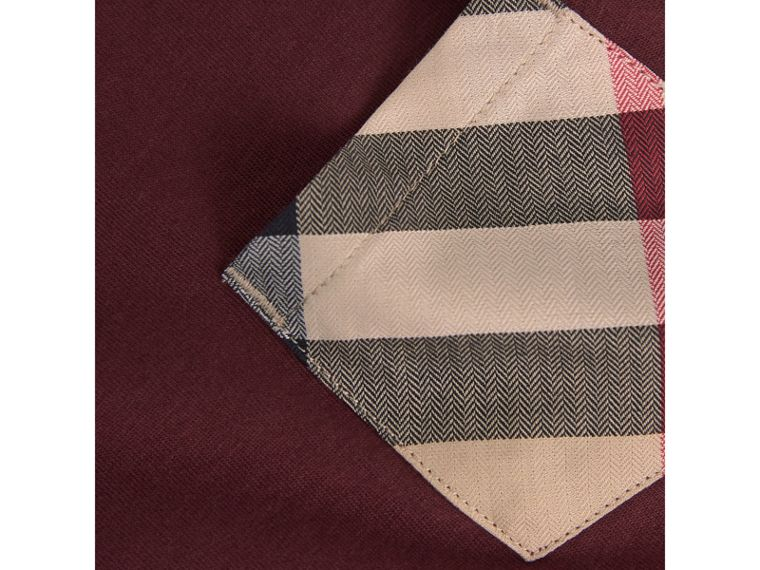Long-sleeve Check Pocket Cotton T-shirt in Oxblood - Boy | Burberry - cell image 1