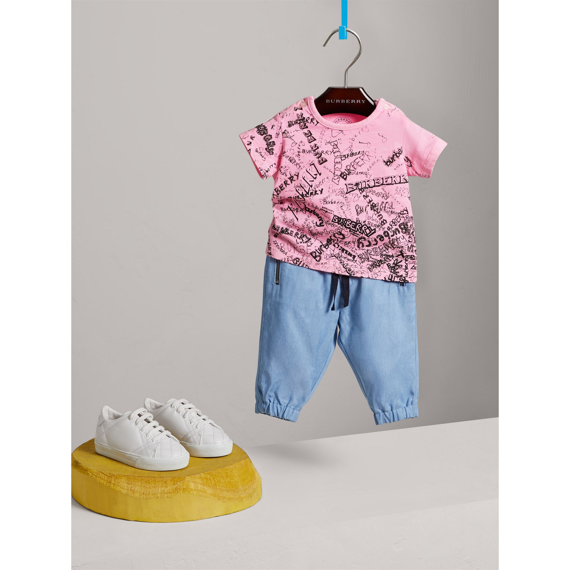 Doodle Print Cotton Jersey T-shirt in Bright Rose | Burberry - gallery image 0