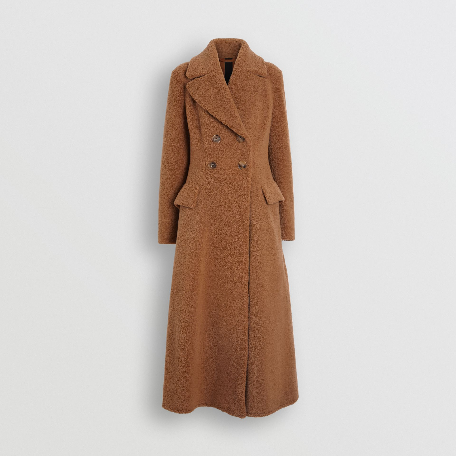 Shearling Tailored Coat in Caramel - Women | Burberry - gallery image 3