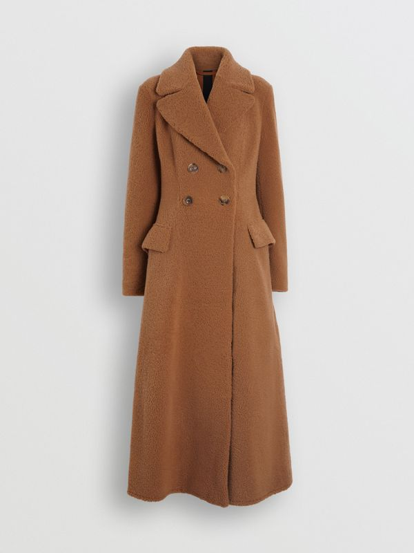 Shearling Tailored Coat in Caramel - Women | Burberry - cell image 3