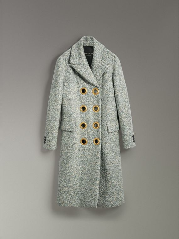 Laminated Cashmere Double-breasted Coat in Olive Melange - Women | Burberry United States - cell image 3