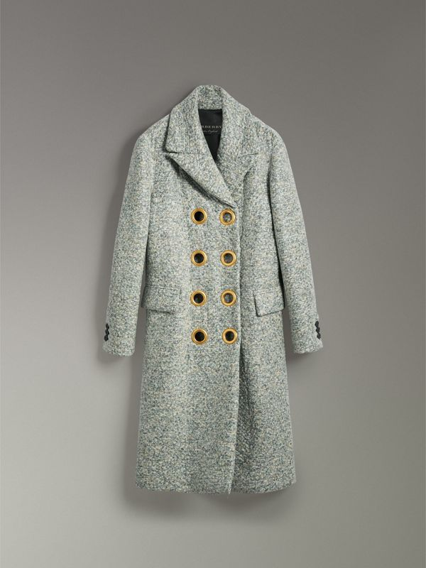 Laminated Cashmere Blend Double-breasted Coat in Olive Melange - Women | Burberry - cell image 3