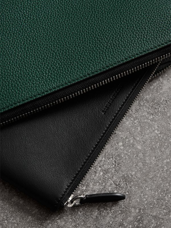 Two-tone Grainy Leather Travel Wallet in Dark Cyan - Men | Burberry Canada - cell image 3