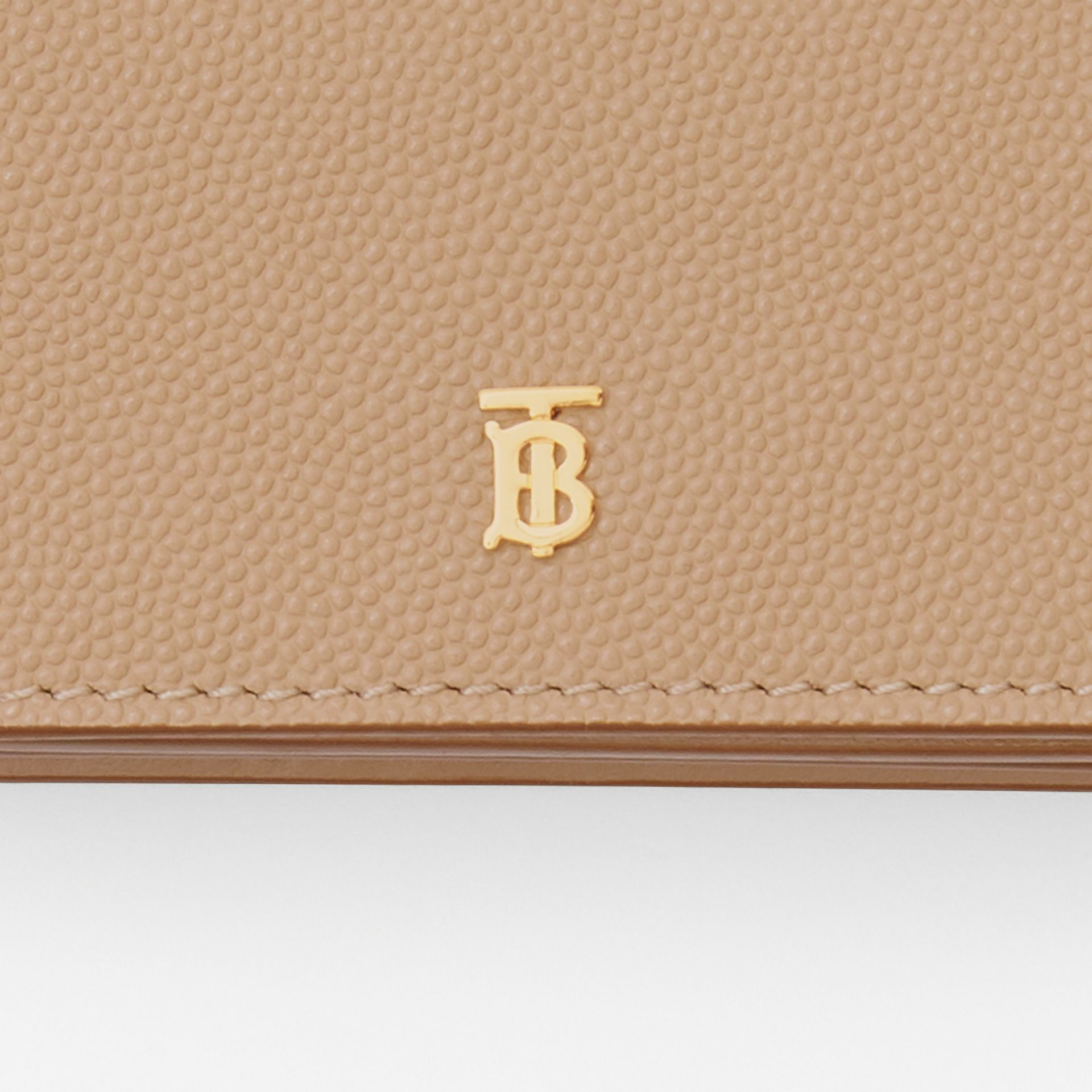 Grainy Leather Card Case with Detachable Strap in Archive Beige - Women | Burberry Australia - gallery image 1
